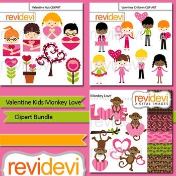 Valentine clipart: Valentine kids monkey love clip art bundle (3 packs)