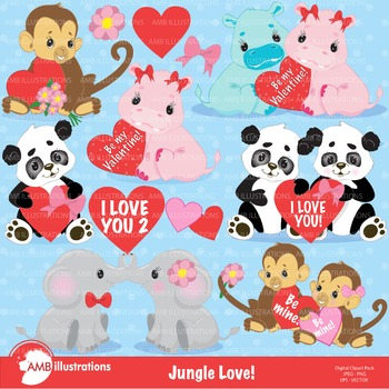 Clipart, Valentine cliparts, Jungle Babys Love Clip art,  AMB-596
