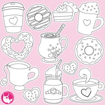 Valentine coffee stamps,  commercial use, vector graphics, images  - DS1057