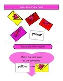 Valentine color match - file folder game.