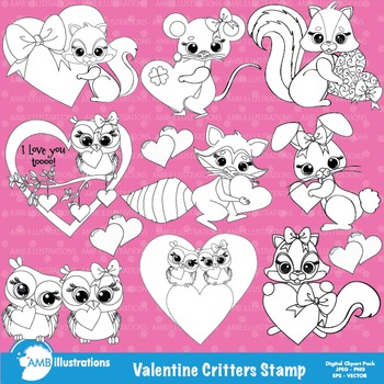 Clipart Stamps, Valentine woodland animals BlacklIne, outline, AMB-343