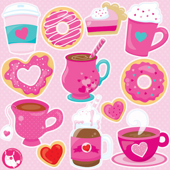 Valentine cupcakes clipart commercial use, vector graphics  - CL1057