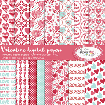 Valentine's Day digital papers, Valentine's Day backgrounds