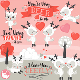 Valentine deers clipart commercial use, graphics, digital