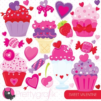 Valentine desserts clipart commercial use, vector, digital - CL797