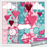 Valentine digital PNG clip art graphics and papers