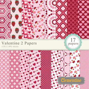 Valentine digital paper 12x12, digital scrapbook paper