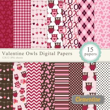 Valentine digital paper 12x12, owl digital scrapbook paper, commercial use