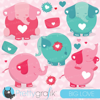 Valentine elephants clipart commercial use, vector graphic