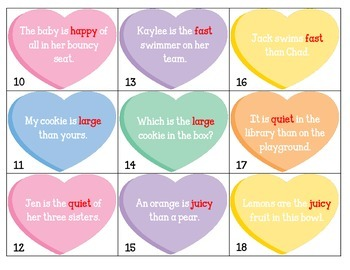 Superlative and Comparative -er and -est Task Card Sort & wksheet: Valentines