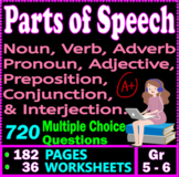 PARTS OF SPEECH review. 36 Worksheets. 720 MCQs. 5th & 6th grade ELA TEST PREP