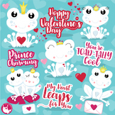 Valentine frogs clipart commercial use, vector graphics  - CL1123