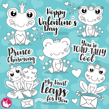 Valentine frogs stamps commercial use, vector graphics, images  - DS1123
