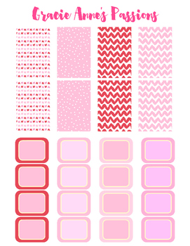 Valentine full and half boxes, Happy Planner