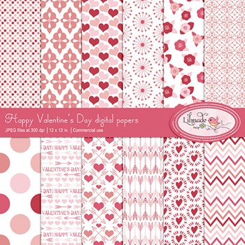 Valentine inspired digital papers