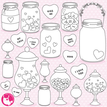Valentine jars stamps,  commercial use, vector graphics, images  - DS1054
