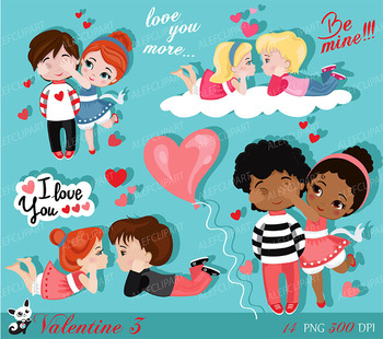 Valentine kids clipart 3 , My Cute Valentine, digital clip art. Valentine's Day.