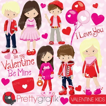 Valentine kids clipart commercial use, vector, digital - CL782