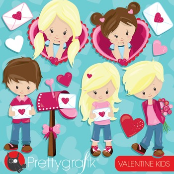 Valentine kids clipart commercial use, vector graphics, digital - CL940
