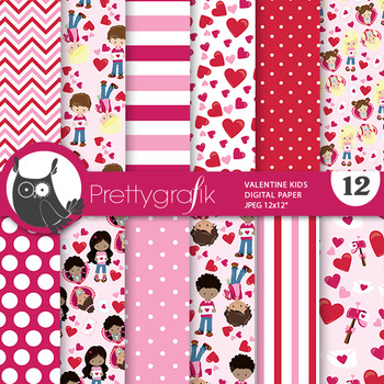 Valentine kids papers, commercial use, scrapbook papers, - PS777