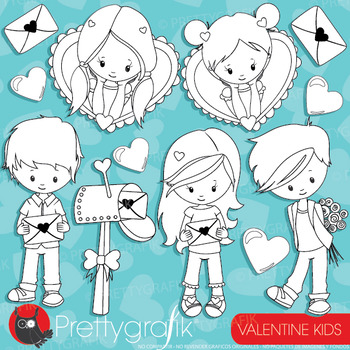 Valentine kids stamps commercial use, vector graphics, images  - DS940