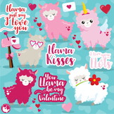 Valentine llama clipart commercial use, vector graphics  - CL1124