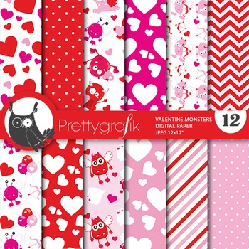 Valentine monsters digital paper, commercial use, scrapbook papers - PS671