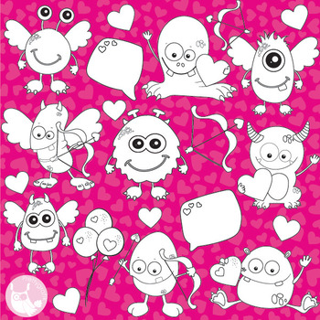 Valentine monsters stamps commercial use, vector graphics, images  - DS779