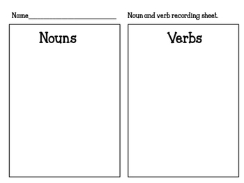 Valentine noun and verb sort