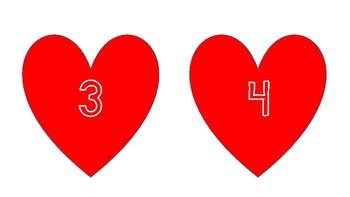 Valentine number game for preschoolers