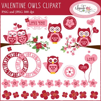 Valentine owls clip arts