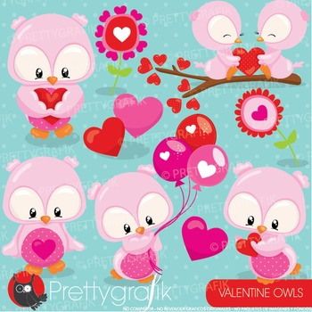 Valentine owls clipart commercial use, vector graphics, digital - CL935