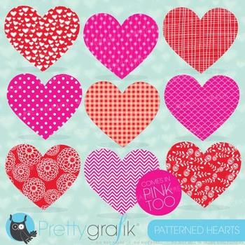Valentine patterned heart clipart, vector graphics, digita