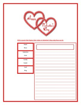 Valentine poem worksheet