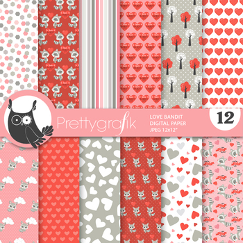 Valentine raccoon papers, commercial use, scrapbook papers - PS969