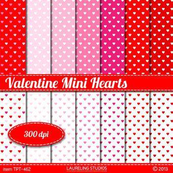 "Valentine red digital paper with mini heart design 8.5x11 & 12""x12"""