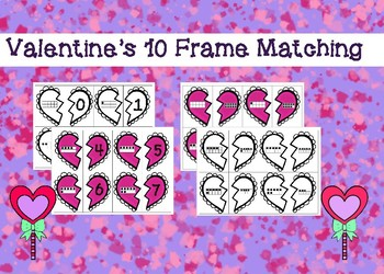 Valentine's 10 Frame Matching