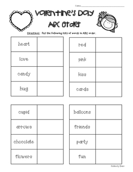 Valentine's ABC Order Worksheet