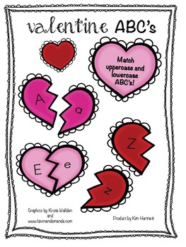 Valentine's ABC Uppercase and Lowercase Letter Match