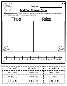 Adding 3 Numbers Worksheets - Valentine´s Day