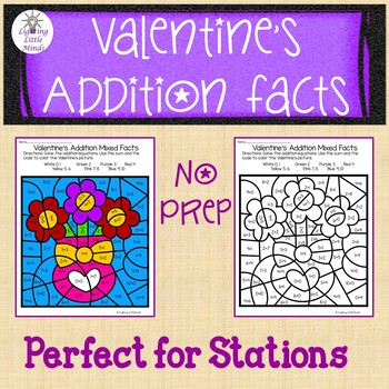 Valentine's Addition Color By Number - Mixed Addition Facts