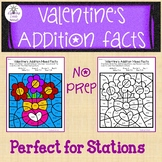Valentine's Addition Color by Code-Mixed Facts