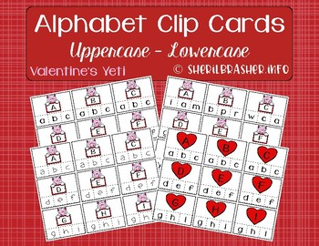 Valentine's Alphabet Recognition Clip Cards | Uppercase - Lowercase | Matching