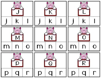 Valentine's Alphabet Recognition Clip Cards   Uppercase - Lowercase   Matching