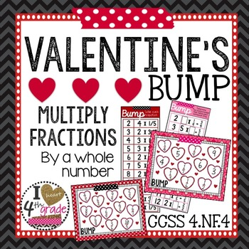 Valentine's BUMP Game Multiply Fractions