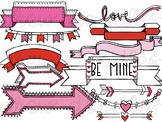 Valentine's Banners & Arrows Digital Clip Art Set- Color a