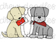 Valentine's Day Dogs Digital Clip Art Set- Color and Black Line COMBO