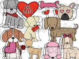 Valentine's Day Dogs Digital Clip Art Set- Color and Black