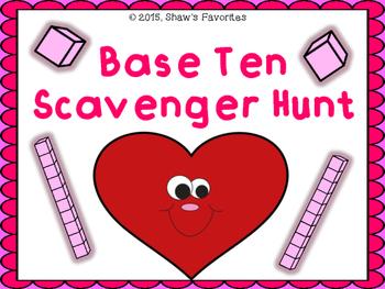 Valentine's Base Ten Scavenger Hunt