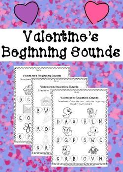 Valentine's Beginning Sounds Worksheets